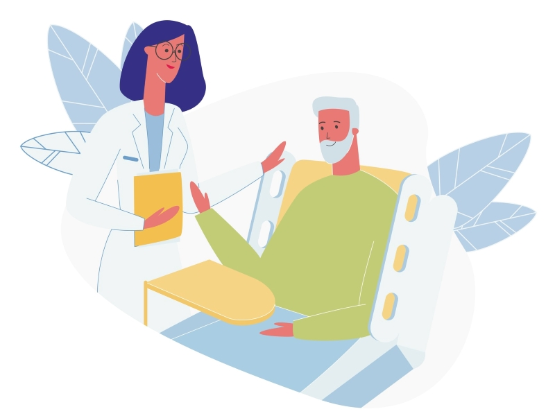 Friendly doctor visiting senior patient illustration