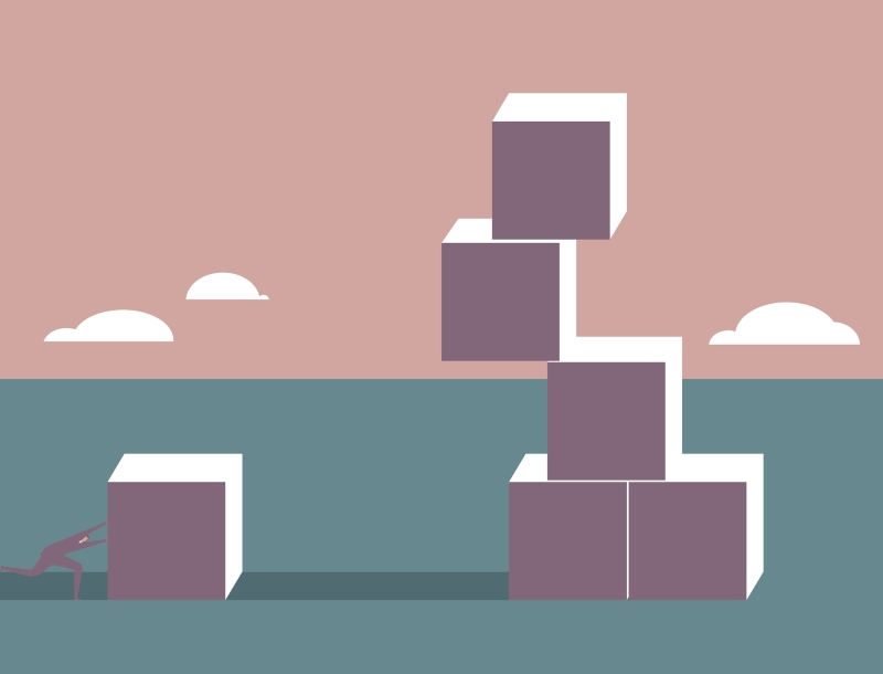Illustration of business person pushing a block toward a tower made of precariously perched blocks