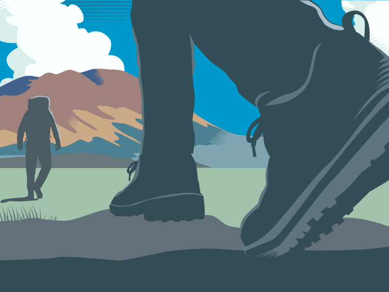 Illustration of two hikers on new path