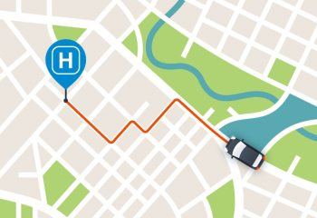 Map of rideshare heading to hospital pin