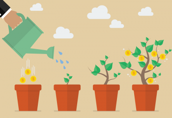Illustration of business person watering a plant that grows into a tree with coins