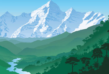 Illustration of rainforest with river running through it, mountains in the backrgound
