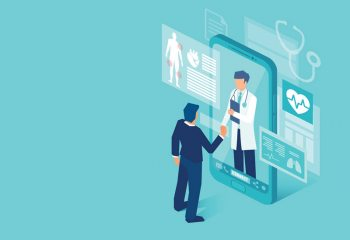 Illustration of person shaking hands with doctor through smart phone