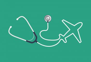 Illustration of stethoscope and airplane