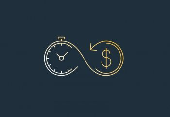 Iconography of money and time intertwining