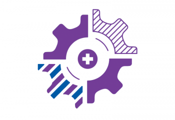 Illustration of gear icon with medical symbol in the center