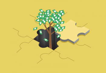 The tree of money up from puzzle illustration