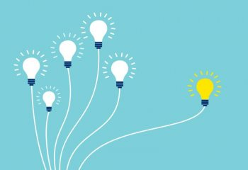 Vector of light bulbs on blue background