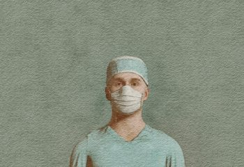 Illustration of healthcare worker with mask and scrubs on