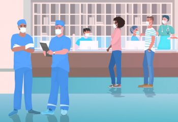 Illustration of patients and healthcare workers in clinic lobby
