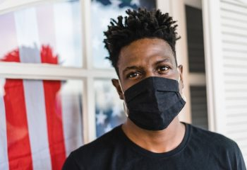 Portrait of an African American man wearing a face mask