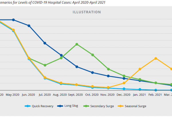 Four scenarios for levels of COVID-19 Hospital Cases: April 2020-April 2021