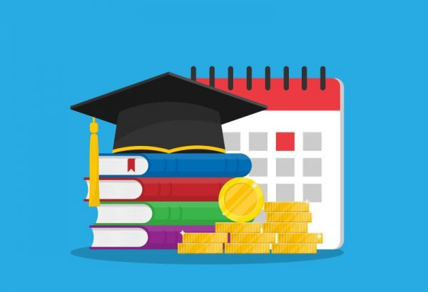 Illustration of grad cap atop books, with calendar and coins in the background