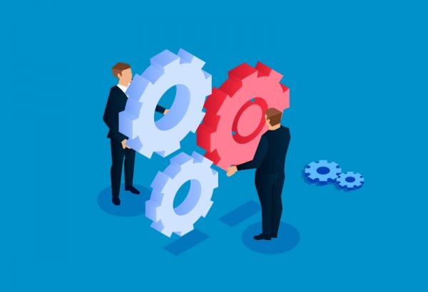 Illustration of two business people and gears